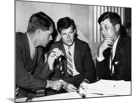Three Kennedy Brothers at Rackets Hearing--Mounted Photo