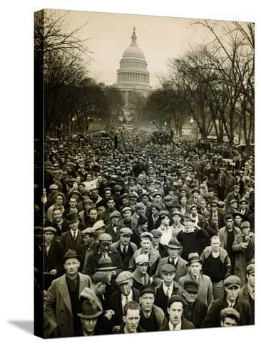 10,000 Unemployed Hunger Marchers to the Jammed the Streets Near the Capitol on Jan 7, 1932--Stretched Canvas Print