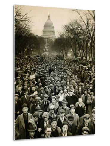 10,000 Unemployed Hunger Marchers to the Jammed the Streets Near the Capitol on Jan 7, 1932--Metal Print