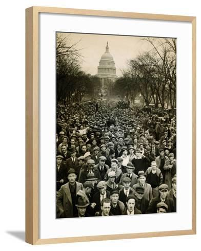 10,000 Unemployed Hunger Marchers to the Jammed the Streets Near the Capitol on Jan 7, 1932--Framed Art Print
