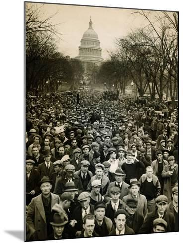 10,000 Unemployed Hunger Marchers to the Jammed the Streets Near the Capitol on Jan 7, 1932--Mounted Photo