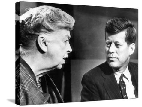 Eleanor Roosevelt and Sen John F Kennedy in a Public Appearance at Brandeis University--Stretched Canvas Print