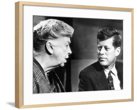 Eleanor Roosevelt and Sen John F Kennedy in a Public Appearance at Brandeis University--Framed Art Print