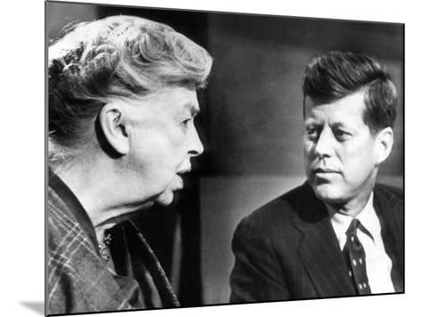 Eleanor Roosevelt and Sen John F Kennedy in a Public Appearance at Brandeis University--Mounted Photo