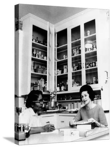 Lady Bird Johnson, in the Kitchen with Her African American Cook, Zephyr Wright--Stretched Canvas Print