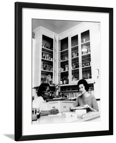 Lady Bird Johnson, in the Kitchen with Her African American Cook, Zephyr Wright--Framed Art Print