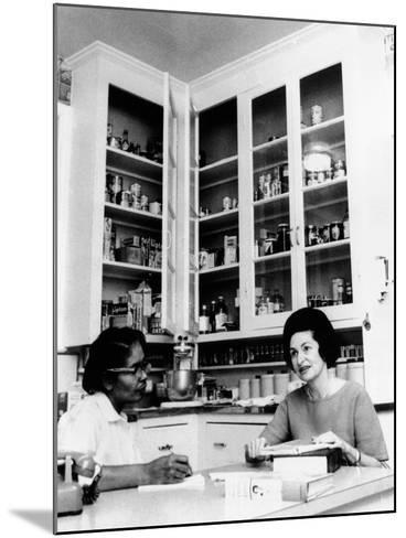 Lady Bird Johnson, in the Kitchen with Her African American Cook, Zephyr Wright--Mounted Photo