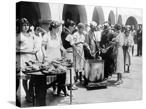 Breadline in Los Angeles Serving Soup and Bread--Stretched Canvas Print