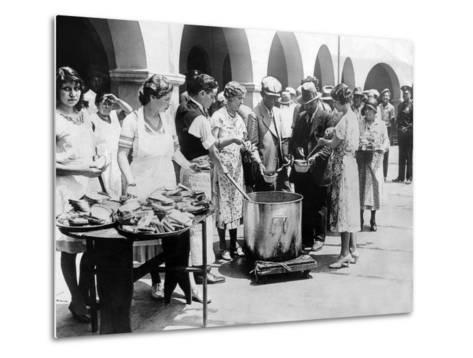 Breadline in Los Angeles Serving Soup and Bread--Metal Print