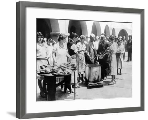 Breadline in Los Angeles Serving Soup and Bread--Framed Art Print