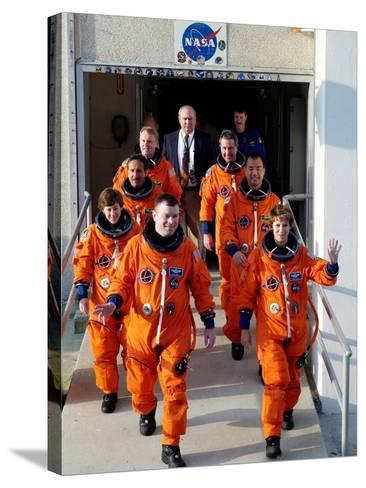 Commander Eileen Collins with Space Shuttle Mission 114 Crew En Route to the Launch Pad, Jul 2005--Stretched Canvas Print