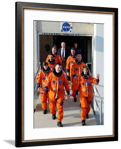 Commander Eileen Collins with Space Shuttle Mission 114 Crew En Route to the Launch Pad, Jul 2005--Framed Art Print
