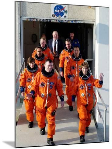 Commander Eileen Collins with Space Shuttle Mission 114 Crew En Route to the Launch Pad, Jul 2005--Mounted Photo