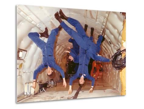 Space Shuttle Astronauts in Zero Gravity Training--Metal Print