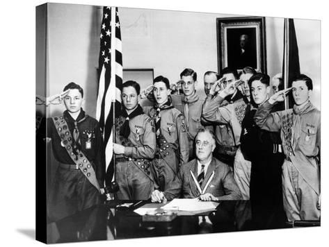 Pres Franklin Roosevelt and Honor Scouts on 27th Anniversary of Boy Scouts Founding, Feb 8, 1937--Stretched Canvas Print