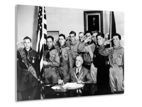Pres Franklin Roosevelt and Honor Scouts on 27th Anniversary of Boy Scouts Founding, Feb 8, 1937--Metal Print
