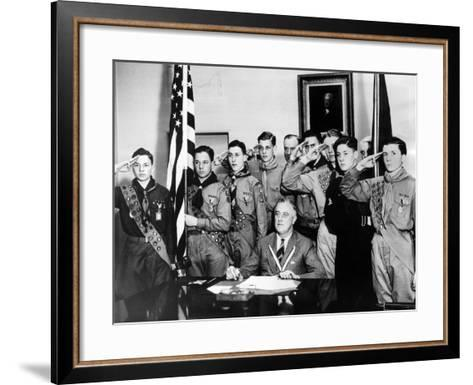 Pres Franklin Roosevelt and Honor Scouts on 27th Anniversary of Boy Scouts Founding, Feb 8, 1937--Framed Art Print