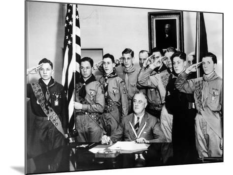 Pres Franklin Roosevelt and Honor Scouts on 27th Anniversary of Boy Scouts Founding, Feb 8, 1937--Mounted Photo