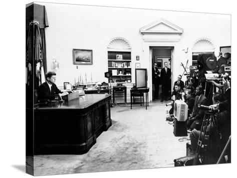 President John Kennedy Television Address on Civil Rights--Stretched Canvas Print