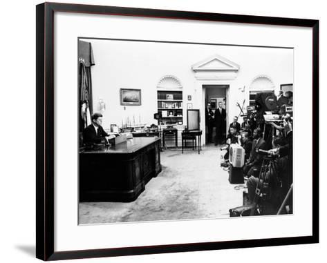 President John Kennedy Television Address on Civil Rights--Framed Art Print