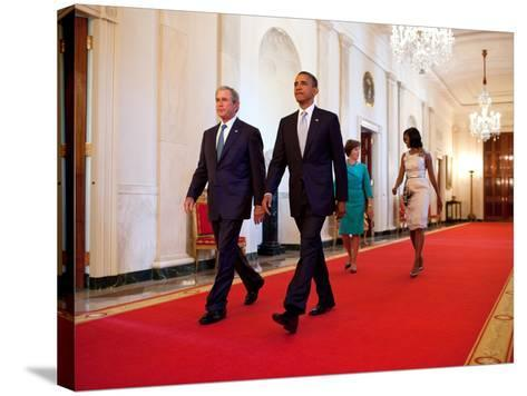 President Barack Obama and First Lady Michelle Obama Walk with Former President George W Bush--Stretched Canvas Print