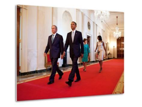 President Barack Obama and First Lady Michelle Obama Walk with Former President George W Bush--Metal Print