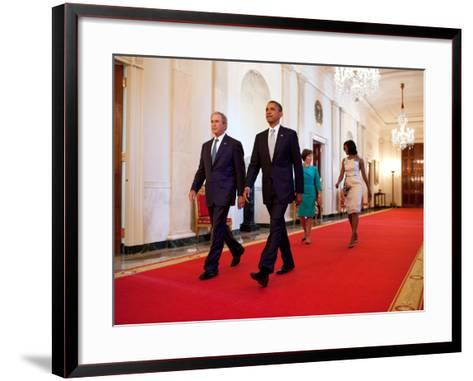 President Barack Obama and First Lady Michelle Obama Walk with Former President George W Bush--Framed Art Print