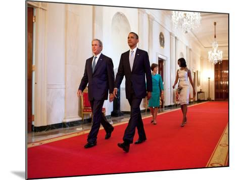 President Barack Obama and First Lady Michelle Obama Walk with Former President George W Bush--Mounted Photo