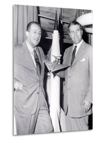 Dr Werhner Von Braun with Walt Disney--Metal Print