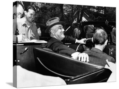 President Franklin Roosevelt, Debonair with His Cigarette Holder--Stretched Canvas Print