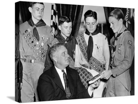 President Franklin Roosevelt Receives the Five-Millionth Copy of the Boy Scout Handbook--Stretched Canvas Print