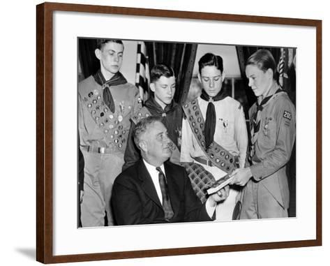 President Franklin Roosevelt Receives the Five-Millionth Copy of the Boy Scout Handbook--Framed Art Print