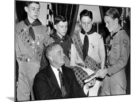 President Franklin Roosevelt Receives the Five-Millionth Copy of the Boy Scout Handbook--Mounted Photo