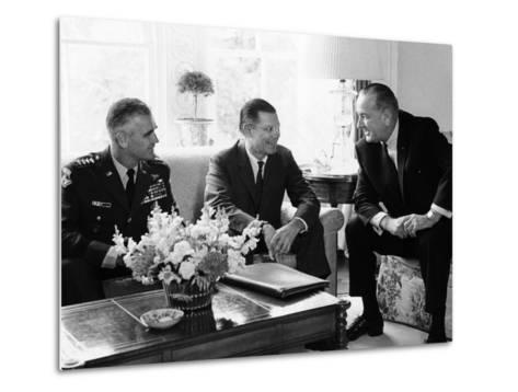 President Lyndon Johnson with Gen William Westmoreland and Defense Secretary Robert McNamara--Metal Print