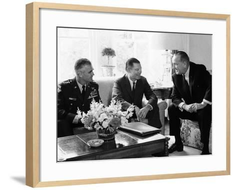 President Lyndon Johnson with Gen William Westmoreland and Defense Secretary Robert McNamara--Framed Art Print