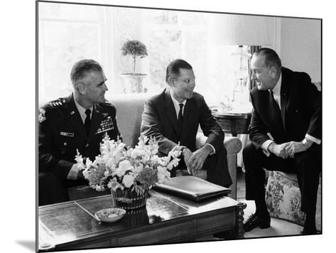 President Lyndon Johnson with Gen William Westmoreland and Defense Secretary Robert McNamara--Mounted Photo