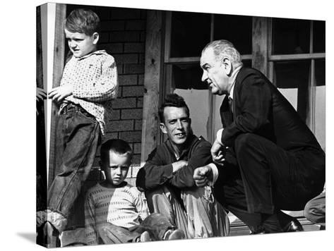 President Lyndon Johnson in Conversation the Tom Fletcher Family of Inez, Kentucky--Stretched Canvas Print