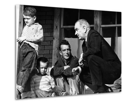 President Lyndon Johnson in Conversation the Tom Fletcher Family of Inez, Kentucky--Metal Print