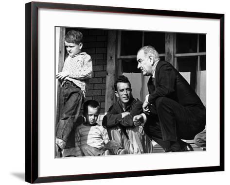 President Lyndon Johnson in Conversation the Tom Fletcher Family of Inez, Kentucky--Framed Art Print