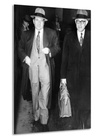 New York Organized Crime Boss, Frank Costello (Left), with His Lawyer, George Wolf--Metal Print