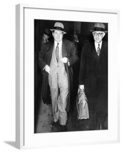 New York Organized Crime Boss, Frank Costello (Left), with His Lawyer, George Wolf--Framed Art Print