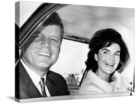 President and Jacqueline Kennedy in Palm Beach, Florida--Stretched Canvas Print