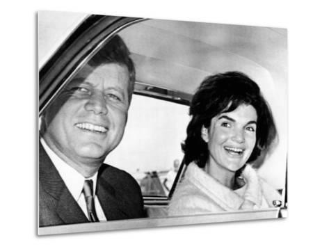 President and Jacqueline Kennedy in Palm Beach, Florida--Metal Print