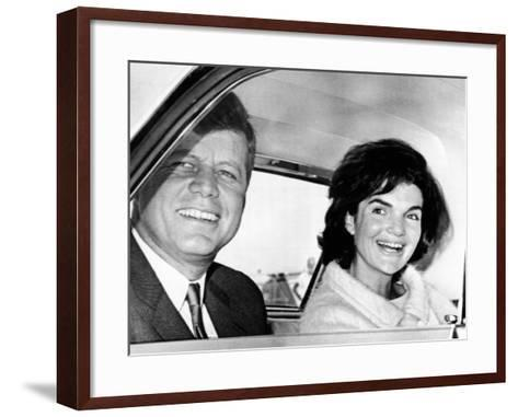 President and Jacqueline Kennedy in Palm Beach, Florida--Framed Art Print