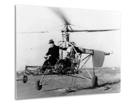 Igor Sikorsky at the Controls of the VS-300 Helicopter--Metal Print