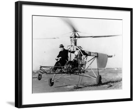 Igor Sikorsky at the Controls of the VS-300 Helicopter--Framed Art Print