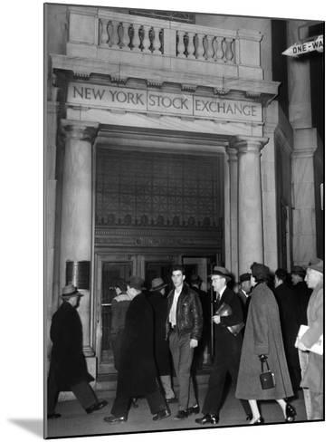 Entrance of the New York Stock Exchange, Jan 21, 1955--Mounted Photo