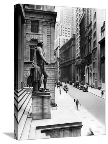 Wall Street Is Virtually Deserted in Front of the US Sub-Treasury Building--Stretched Canvas Print