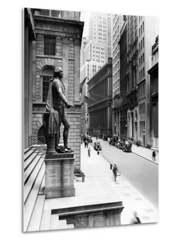 Wall Street Is Virtually Deserted in Front of the US Sub-Treasury Building--Metal Print
