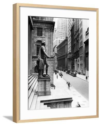 Wall Street Is Virtually Deserted in Front of the US Sub-Treasury Building--Framed Art Print